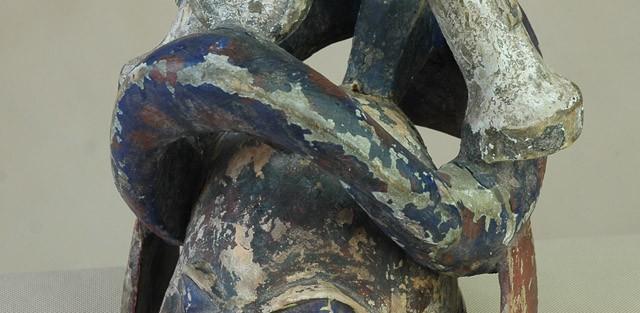 Yoruba/Nigeria - Maska  Gelede, drewno, kaolina, ślady starej czerwonej i niebieskiej farby wys.33 cm.