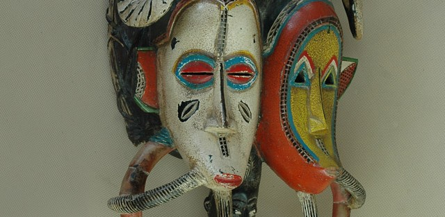 Senufo/Wybrzeże Kości Słoniowej - Maska podwójna, drewno,  barwna polichromia.