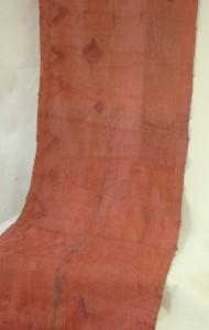 Kuba/Zair - Spódnica spodnia z rafii w kolorze terakoty z aplikacjami geometrycznymi dług. 5,30 m.
